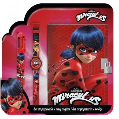 Set Miraculous Journal intime + montre + stylo 6 couleurs