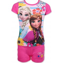 Ensemble T-Shirt avec Short La Reine des Neiges disney - Fuchsia