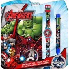 Set Avengers Bloc Note + montre + stylo 6 couleurs