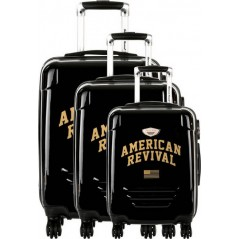 American Revival - Set de 3 Valises Rigide ABS & Polycarbonate 4 Roues