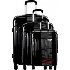 Set de 3 Valises American Revival en noir rigide ABS & Polycarbonate 4 Roues